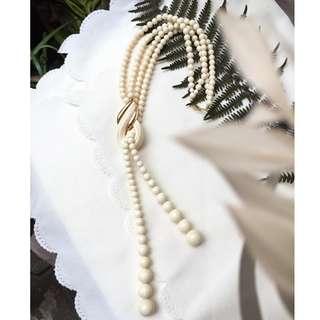 Skin&Moss復古vintag復古美國AVON米色優雅交織小珠中長項鍊復古項鍊歐美古董