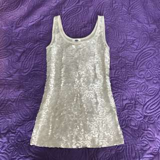 Old Navy Silver/Gray Sequined Tank Top