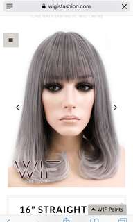 """16"""" STRAIGHT TWO TONE GREY SYNTHETIC WIG CM193"""