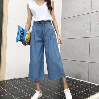 korean ulzzang waist tie denim cropped culottes pants
