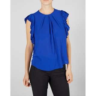 🚚 全新 含吊牌 丹麥 北歐 品牌 寶藍色 百摺 寬袖 上衣 春夏 夏季 夏日 歐美