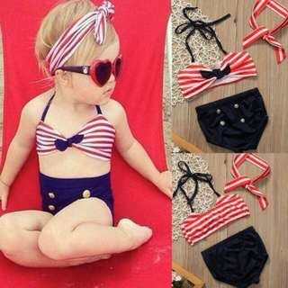 2 Pc Swimsuit With Headpiece