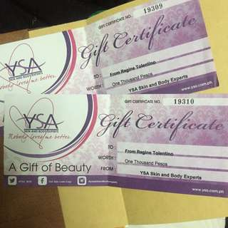 Php2,000 YSA Gift certificate