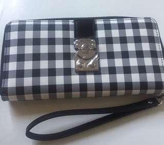 Guess 'Britta Checkered Zip around Wallet'
