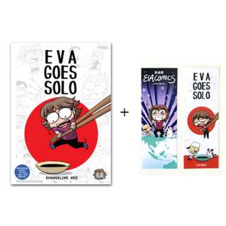 Eva Goes Solo with stickers and bookmarks (autographed comic book by Evacomics )