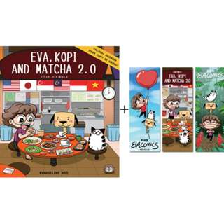 Eva, Kopi and Matcha 2.0 with stickers and bookmarks (autographed by Evacomics)