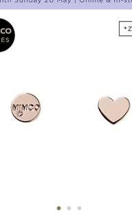 Mimco Take Two Heart Stud