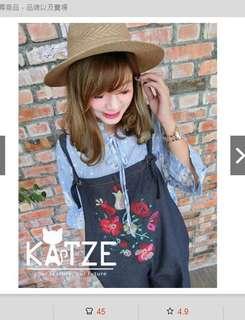 🚚 Katze 自訂款 繡花雙面穿可調吊帶寬褲