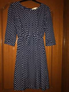 Yumi 3/4 sleeve polka dot dress