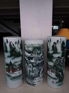 Stunning Chinese Kangxi style porcelain  umbrella  stand or Vasses