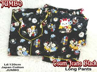 Piyama Dewasa / Baju Tidur Wanita Jumbo Long Pants Katun Jepang Tsum Jeans Black