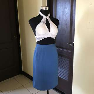 Blue office skirt