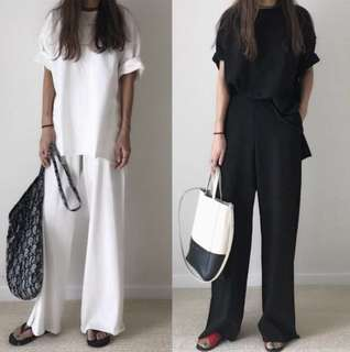 Loose fitting Korea casual home street suit split short sleeve TEE+ wide leg pants