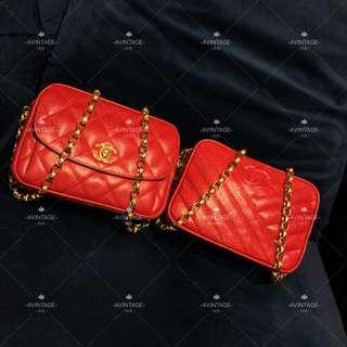 (SOLD)Chanel Vintage 紅色荔枝皮 Camera Bag