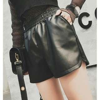 Korean Stylish Style Black PU Faux Leather Shorts