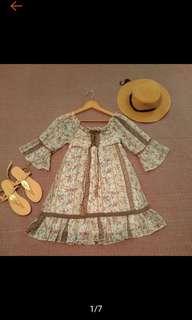 🚚 日本 CECIL MCBEE 俏麗 甜美 蕾絲 喇叭袖 花卉 洋裝 連身裙 連衣裙