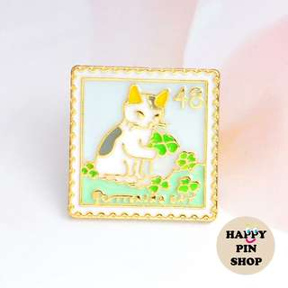 Lucky Clover Kitty - Playful Cat Stamp Collection enamel pin