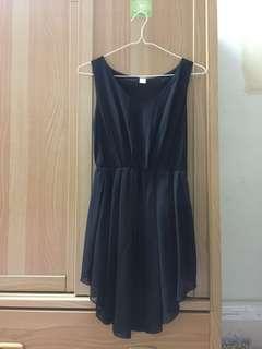 🚚 黑色不規則裙擺洋裝