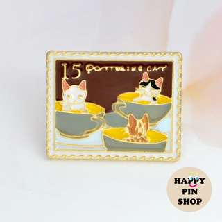 Kitties in Teacups - Playful Cat Stamp Collection enamel pin