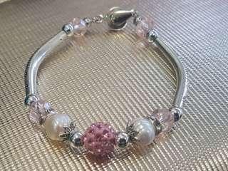 Pink Pearl Crystal Bracelet