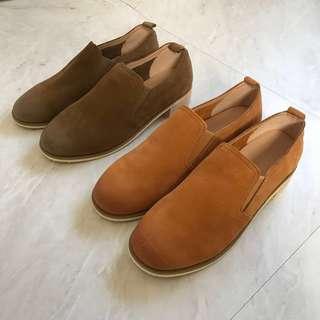 英倫風 復古 質感 麂皮 休閒鞋 懶人鞋 黃棕色 咖色 38