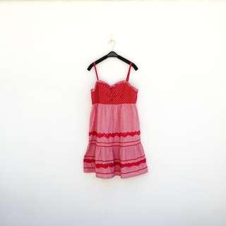 二手 紅色 印花 低胸 露背 法式風情 洋裝 明太子 517