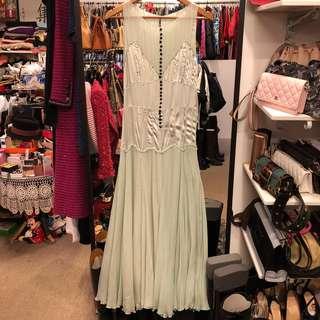 斯文裙 Chloe light green silk dress size 38