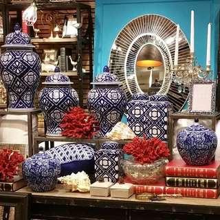 Royal Blue Jars: Jonquil Ginger Jar / Vase Decor / Canister