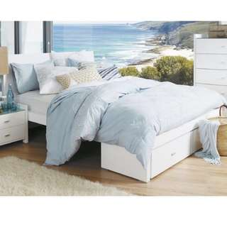 Bed Shed RIMINI Gloss White QUEEN size Bed Frame - FRAME ONLY