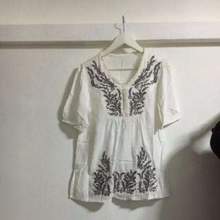 (FREE NM) White Bohemian Top/Dress