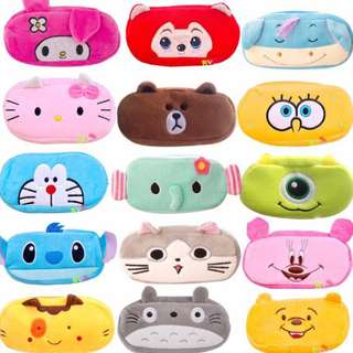 (FREE NM) Cartoon Plush Pencil Case