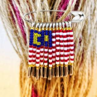 Custom safety pin beaded flags