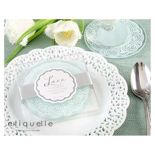ED18050 LACE FROSTED GLASS COASTER 2PCS