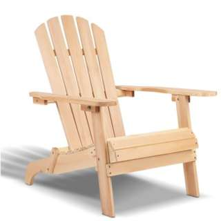 Outdoor Wooden Lounge Chair - Natural Wood