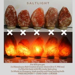 🚚 Authentic Himalayan Salt Lamps with free delivery! 2 sets@$70 with delivery with marble bases and long lasting bulbs   Cleanse & Purify   Improve Air Quality   Chromotherapy   Combat EMF and radiation