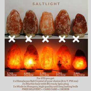 Authentic Himalayan Salt Lamps | 2sets@$70 with delivery | From Himalayas, Pakistan | Cleanse & Purify | Improve Air Quality | Reduce EMF and radiation | Chromotherapy Relaxation