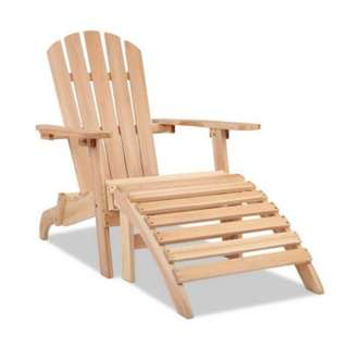 Outdoor Foldable Wooden Lounge Chair - Natural Wood