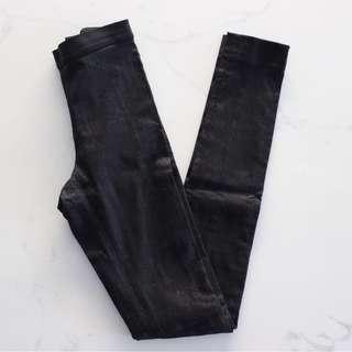 Cos Black Metallic Leggings/Ponte Pants