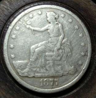 1877年美國貿易銀元 鷹面有修補