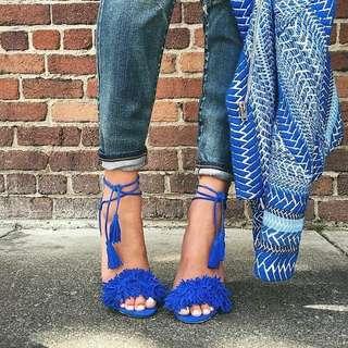 Tassel Fringe Suede Sandal Heels