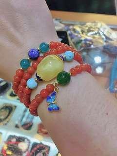 Red agate /beeswax/jade/lapis bracelet 南红碧玉蜜蜡青金
