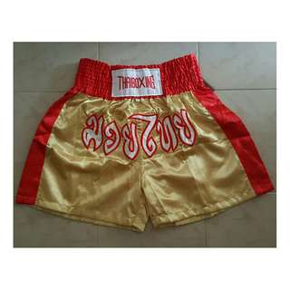 🎠 FLASH DEAL - Plus Size Muay Thai Gold Red Duo Tone Stretchable Shorts