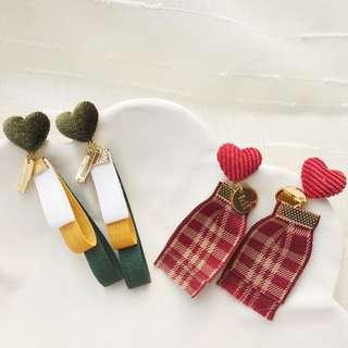 Ribbon heart Earrings