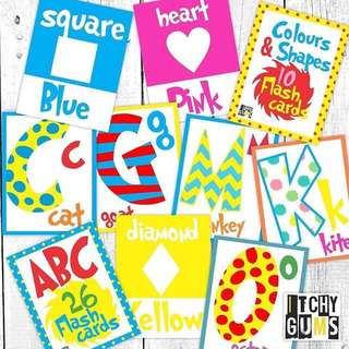 Abc's and Colours/Shapes flash cards