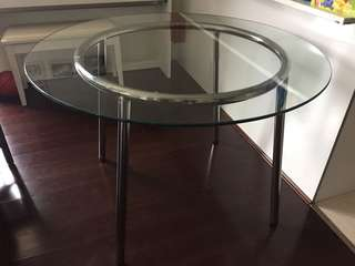 IKEA round glass top dining table
