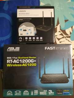 Asus Dual Band Router & Linksys Extender for Sales