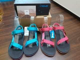TEVA織帶復古涼鞋 霓虹粉/藍粉