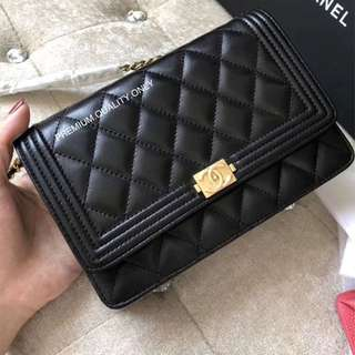 Boutique Quality Chanel Leboy Wallet on Chain genuine leather - black