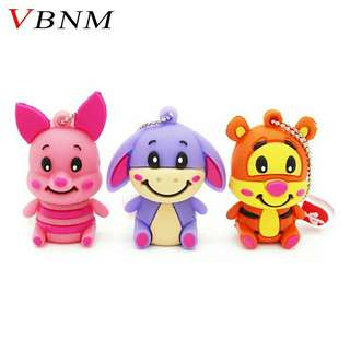 VBNM cute winnie bear pen drive Tigger Donkey usb flash drive animal pendrive 4GB 8GB 16GB 32GB cartoon cute memory stick