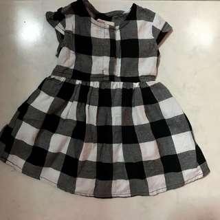 Fox Black & White checkered Dress (3-6months